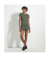 camiseta esportiva básica em poliamida com manga curta | get over | verde escuro | p
