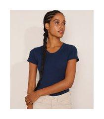 blusa feminina básica canelada manga curta decote redondo azul marinho