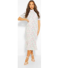floral draped puff sleeve midaxi dress, sage