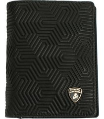 automobili lamborghini wallet with coin compartment in leather with all-over y texture