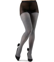 houndstooth imitation pearl bow opaque women's tights