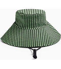 green check tie wide bucket hat - green