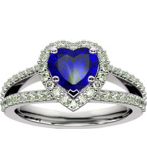 0.75ct 14k white gold fn sapphire & simulated diamond solitire with accents ring
