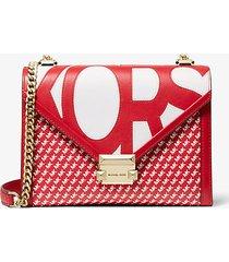 mk borsa a spalla whitney convertibile grande con logo grafico - rosso/bianco (rosso) - michael kors
