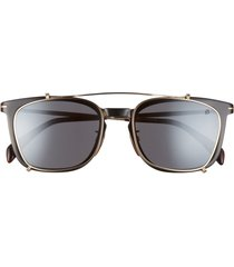 david beckham eyewear eyewear by david beckham 53mm rectangular clip-on sunglasses in dark havana /grey blue at nordstrom