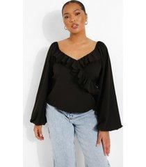 plus blouse met ruches, laag decolleté en volle mouwen, black