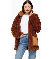 brown borg parka jacket - brown