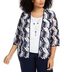alfred dunner plus size easy street two-for-one necklace top