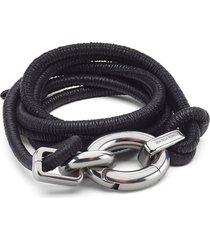women's bottega veneta leather cord belt, size small - black/ silver