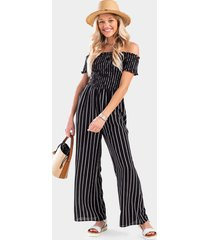 casely striped off the shoulder jumpsuit - black