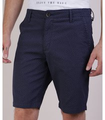 bermuda masculina reta estampada mini print azul marinho