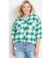 maurices plus size womens green plaid oversized button down shirt