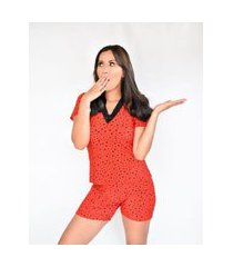 pijama adulto feminino liganete curto short doll vermelho estrelas