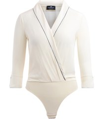 elisabetta franchi bodysuit shirt in ivory fabric with deep v-neck
