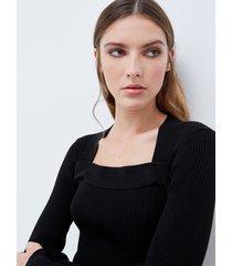 motivi maglia a coste con scollo quadrato donna nero