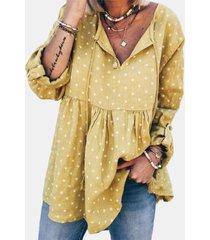 camicetta da donna con scollo a v e fasciatura stampata a maniche lunghe