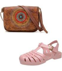 kit bolsa mandala + sandalia emborrachada feminina -modelo aranha - feminino