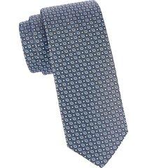 eton men's floral medallion silk tie - blue