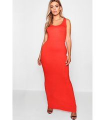 plus maxi jurk met diepe hals, oranje