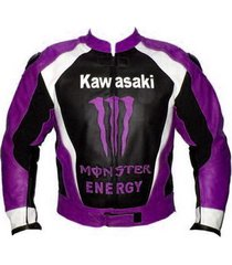 new design kawasaki purple logo black leather jacket racing protetion pads all s