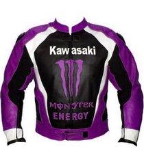 new design kawasaki purple logo black leather jacket racing protetion pads all s