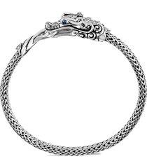 'legends naga' diamond sapphire double dragon sterling silver bracelet
