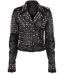 new handmade women black real leather studded biker jacket, hand fixed studs