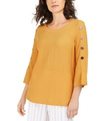 jm collection button-sleeve crinkle top, created for macy's