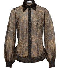 printed organza shirt blouse lange mouwen bruin ganni