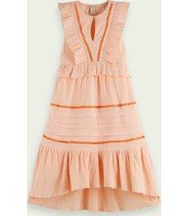 scotch & soda ruffled organic cotton maxi dress