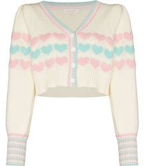 loveshackfancy buena heart cropped cardigan - neutrals