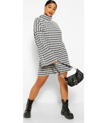 plus dogtooth roll neck flare sleeve sweater dress, black