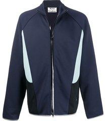 acne studios colour-block panelled zip sweatshirt - blue