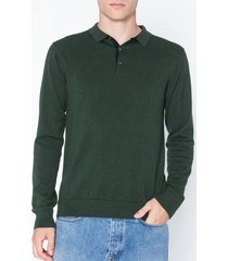 premium by jack & jones jpredgar knit polo ls tröjor mörk grön