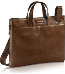 piquadro designer briefcases, blue square - expandable leather business bag