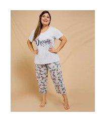 pijama plus size feminino floral manga curta marisa