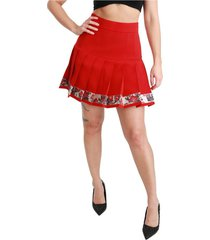 high waist geplooide floral rok