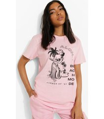 tall oversized aloha t-shirt, light pink