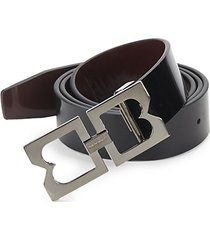 double-buckle patent leather belt