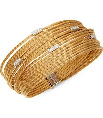 18k white gold, diamond & yellow stainless steel cable bracelet