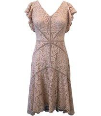 taylor v-neck flutter-sleeve asymmetrical lace dress