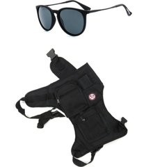 kit pochete cartucheira de perna dark face com óculos de sol preto - dkfptp