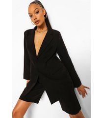 oversized long line blazer, black