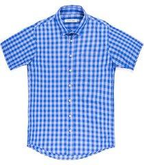 camisa casual manga corta a cuadros regular fit para hombre 83489