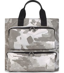 dolce & gabbana camouflage-print cotton tote bag - 89697 white/black