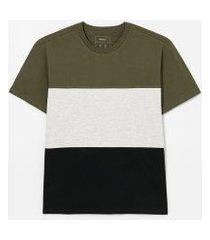 camiseta manga curta com recortes lisa   blue steel   multicores   m