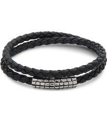 effy men's sterling silver and leather bracelet - silver