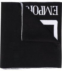 ea7 emporio armani lightweight knit logo scarf - black