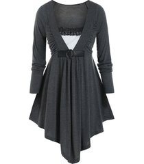 plus size ruched lace insert long sleeve tunic tee