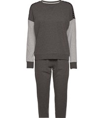 dkny reinven.classic l/s top & jogger pj pyjamas grå dkny homewear